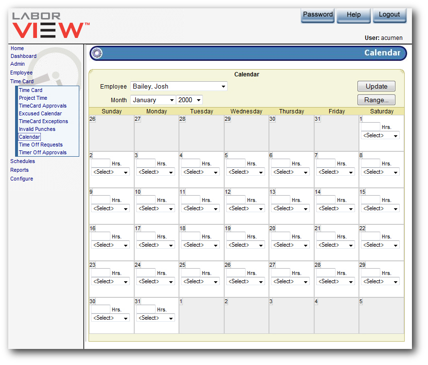 LaborVIEW time and attendance software from Acumen Data Systems